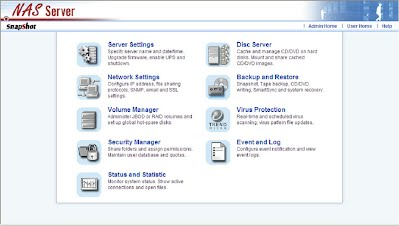 NAS Server Screen Shot Admin Home
