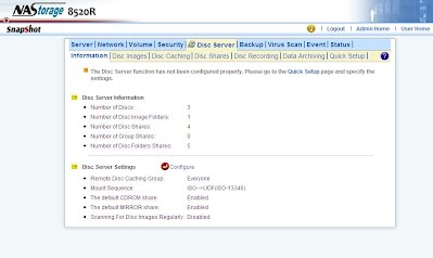 NAS Server Screen Shot Disc Server